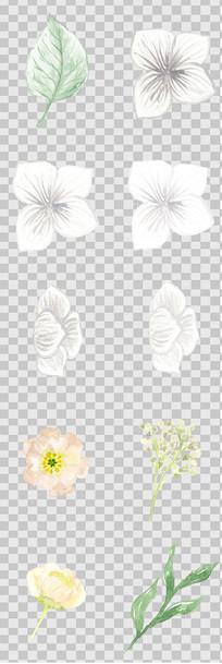 唯美森系手绘水彩花朵元素
