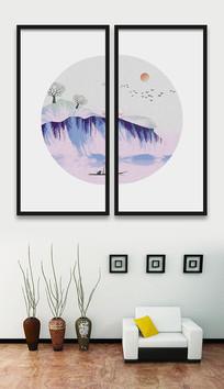 新中式水墨麋鹿山水画装饰画