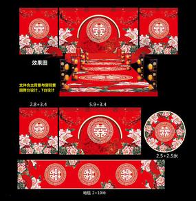 中式傳統婚禮背景板 PSD
