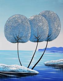 高清抽象发财树河流艺术油画无框画