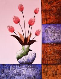 高清抽象艺术鲜花花瓶油画图