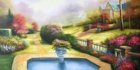 高清手绘欧式公园油画背景墙