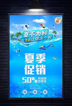 蓝色夏季促销宣传海报