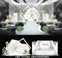 大理石婚礼布置背景板 AI