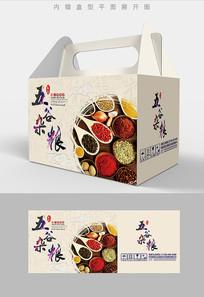 水墨背景五谷杂粮包装礼盒设计PSD