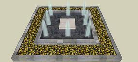 方形水景SU模型 skp