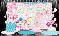 粉色糖果宝宝宴主题背景板