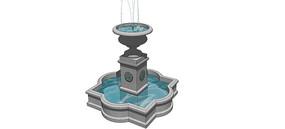 广场喷泉SU模型