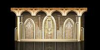 金色欧式主题婚礼背景板