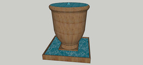 酒杯形喷泉SU模型 skp