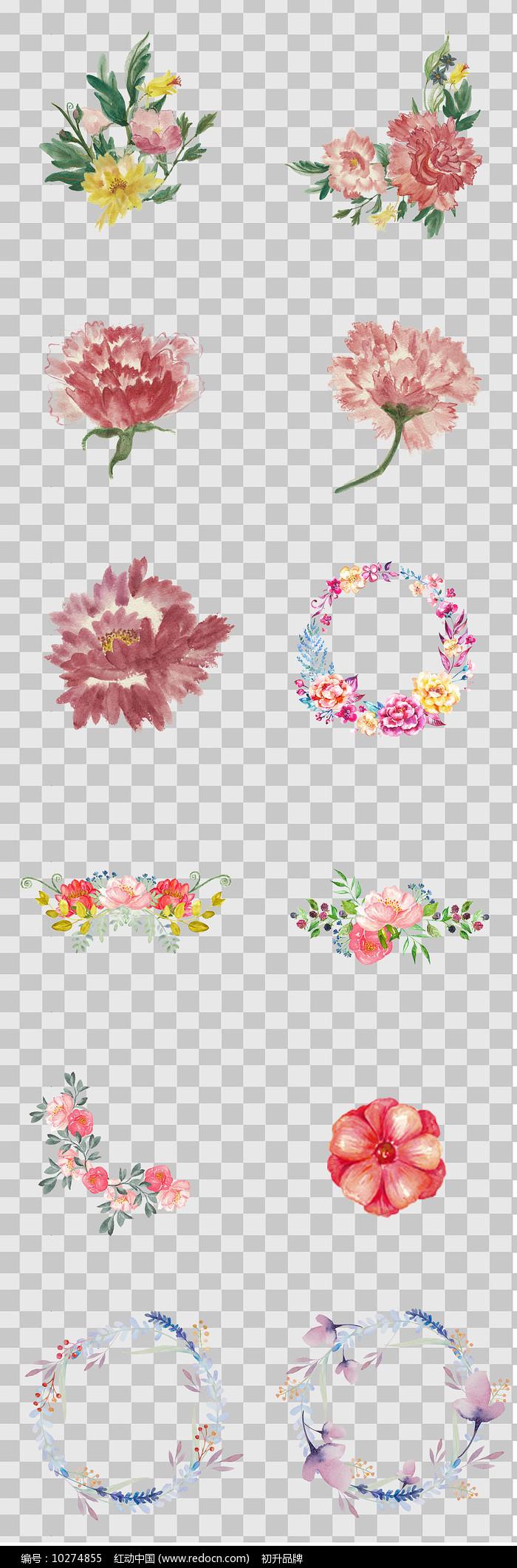 水墨风手绘花朵元素图片