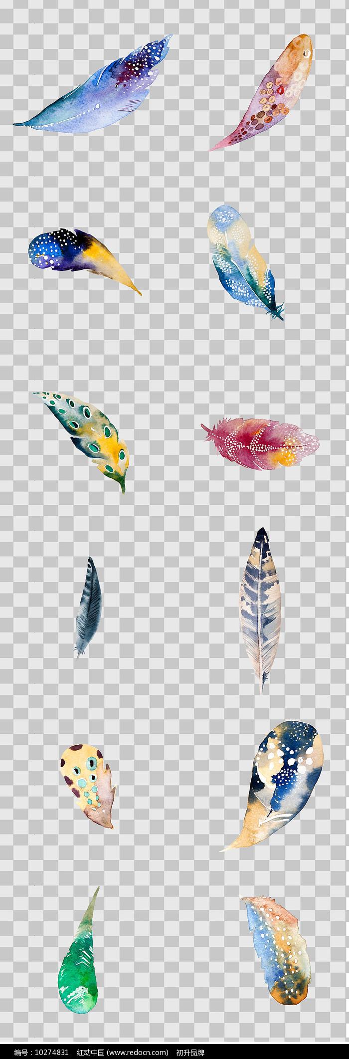 水墨风手绘羽毛元素图片