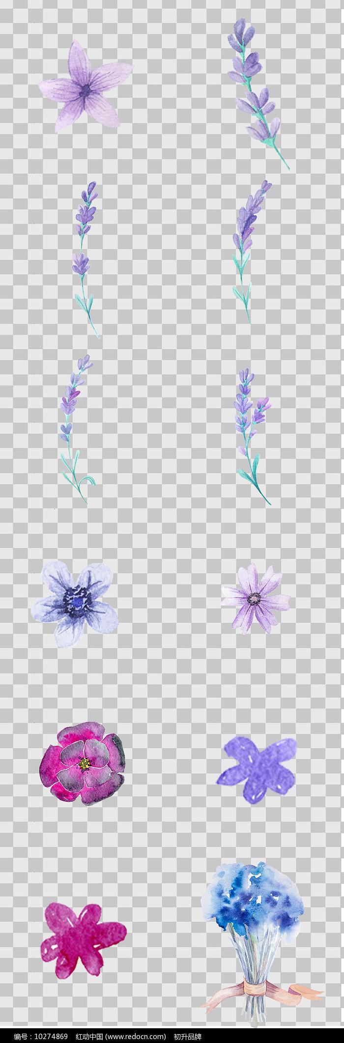 水墨风手绘紫色花卉元素图片