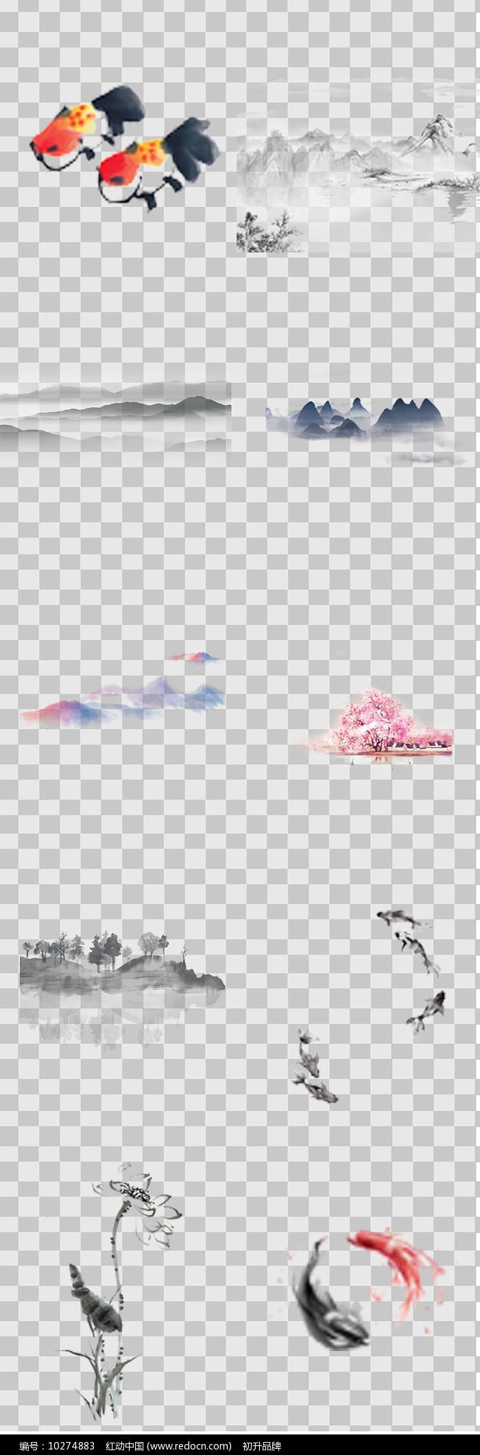 水墨画山水图元素图片