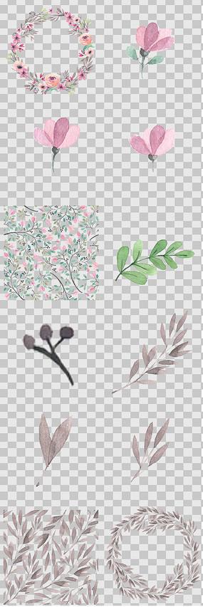 唯美森系花卉叶子元素