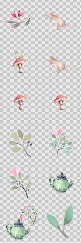 唯美森系手绘蘑菇 老鼠 花卉素材