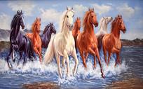 八馬踏水手繪油畫背景墻