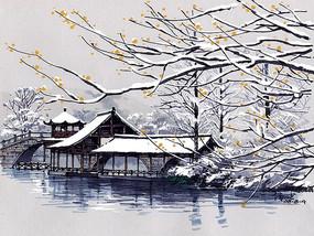 河道建筑雪景彩色手绘