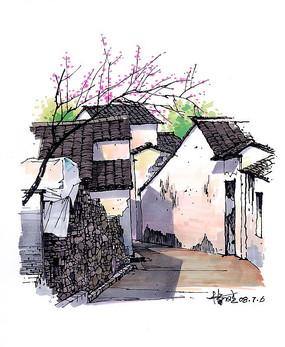徽派建筑屋顶街道彩色手绘 JPG
