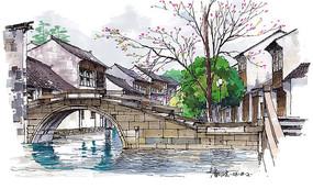 江南风味小镇彩色手绘