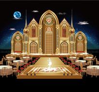 金色城堡主题婚礼背景板