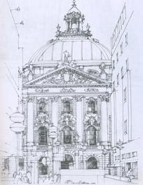 某法院大厦线描