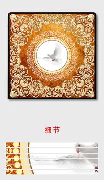欧式复古奢华花纹鸽子艺术装饰画