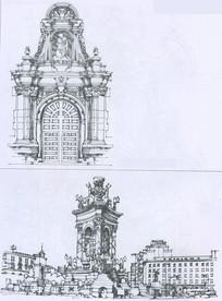 欧式古建筑大门线描
