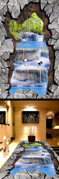 瀑布流水生财梦幻丛林3D立体地板地画
