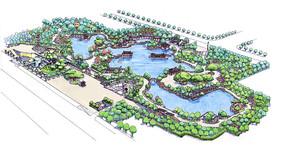曲型大型公园彩色手绘