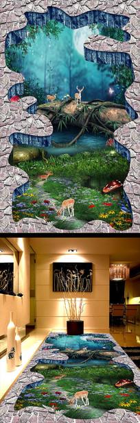 森林地画3D户外地画地贴 PSD