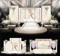 香槟色婚礼婚纱背景板