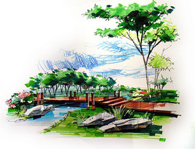 小河桥梁彩色手绘