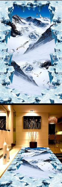 雪山冰山户外立体地画