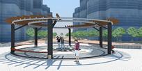 住宅小区廊架景观SU草图大师模型