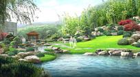 公园自然水景效果图