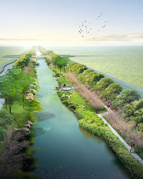 河道滨水景观效果图