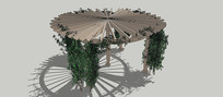 木结构藤蔓亭SU模型