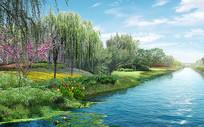 生态河道效果图