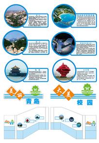 学校青岛风景文化异形展板