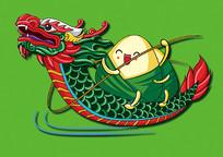 端午节龙舟粽子插画设计
