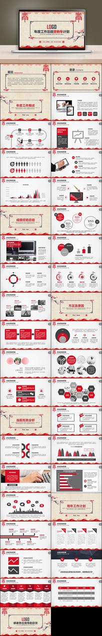 红色商务工作计划项目述职PPT模板