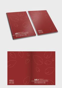 红色叶子花纹封面设计