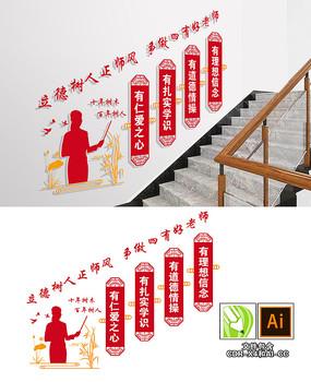四有好老师楼梯文化墙