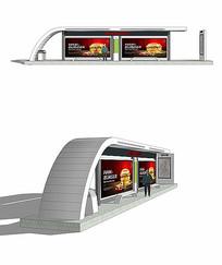 现代简约公交车站模型