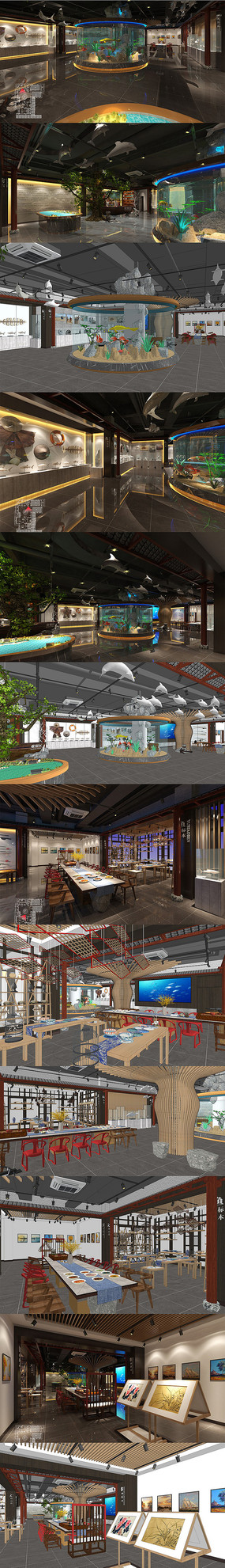 夜钓场鱼展厅鱼博物馆室内设计模型