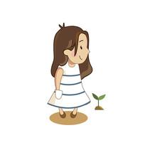 原创插画白裙子女孩