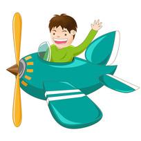 原创插画开飞机的小男孩
