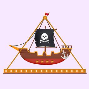 原创插画游乐园海盗船
