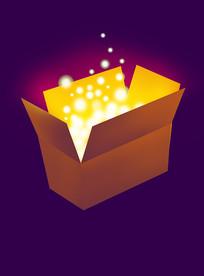 原创元素发光萤火开口盒子
